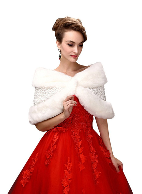 bc66404cd173a Bolero Bridal Wraps Winter Ivory Wedding Cape Faux Fur Elegant Ladies Lace Evening  Jackets Wedding Shawl