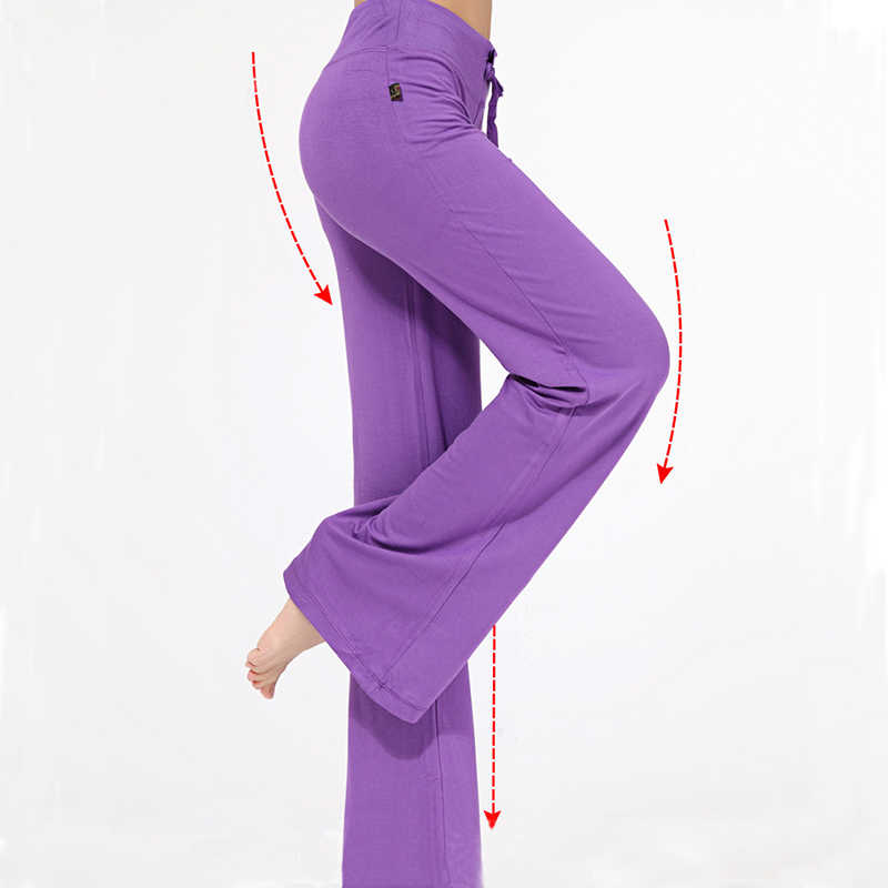 a7cf2cea221 ... RealLion Wide Leg Sport Pants Women High Waist Stretch Bandage Flare  Pants Broad Leg Dance Yoga