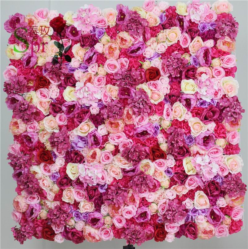SPR Free Shipping magic PINK butterfly flower wall wedding backdrop artificial flower row and arch decorative