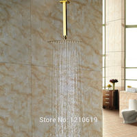 Newly Solid Brass 8 Top Shower Head Golden Polished Square Shower Spray Head w/ Arm Ceiling Mounted