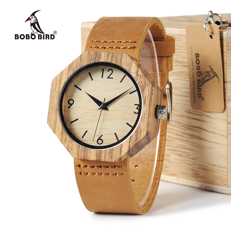 Relogio Masculino BOBO BIRD Men Women Watches Japan Quartz Wristwatches Soft Leather Luxulry Band Zebra Wood Watch Drop Shipping