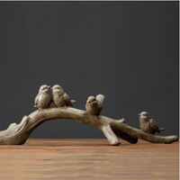 Rustic Village Creative Distracting Bird Stand Branches Antique Home Accessories Crafts Resin Ornaments Home Decoration