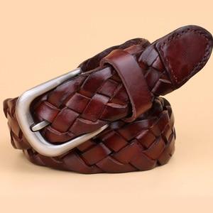 Image 5 - hot fashion luxury designer Weaving belt women high quality full grain real genuine leather girdle breathable belt for jeans