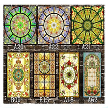 Electrostatic Frosted Church stained glass window film home foil door sticker PVC Custom self-adhesive decorative films