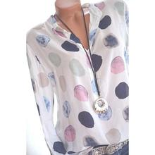 Yfashion Women Dots Print Chiffon Long Sleeve Shirt Fashionable Casual Pullover Top
