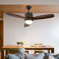 Wood Ceiling Fan with Light Remote Control For Living room Bedroom Kitchen ventilador techo Black White Color Ceiling Fan Lamp
