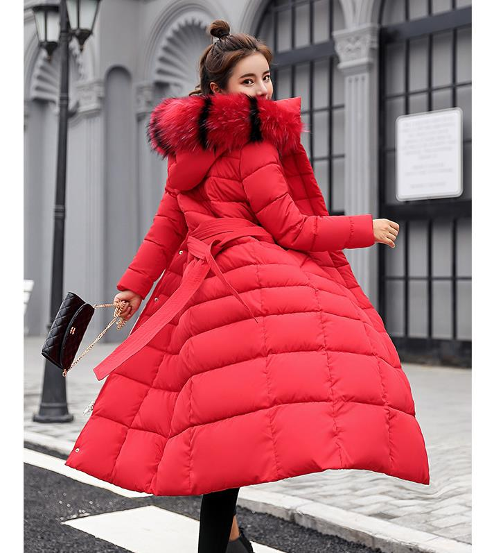 Winter Women Hooded   Coat   Fur Collar Thicken Warm Long Jacket women's   coat   girls long slim big fur   coat   jacket   Down   Parka