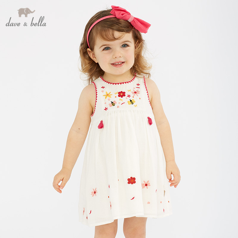 DB10507 dave bella summer baby girls princess cute floral embroidery dress children party dress kids infant lolita clothesDB10507 dave bella summer baby girls princess cute floral embroidery dress children party dress kids infant lolita clothes