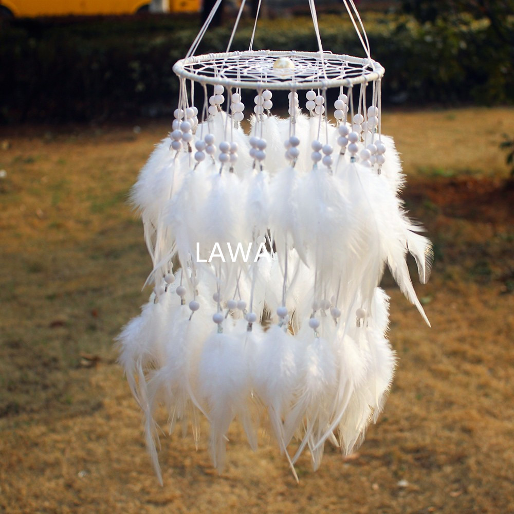1pc Artistic New fashion gift Hot white Feather Dreamcatcher Wind Chimes Indian Style Pendant Dream Catcher Gift
