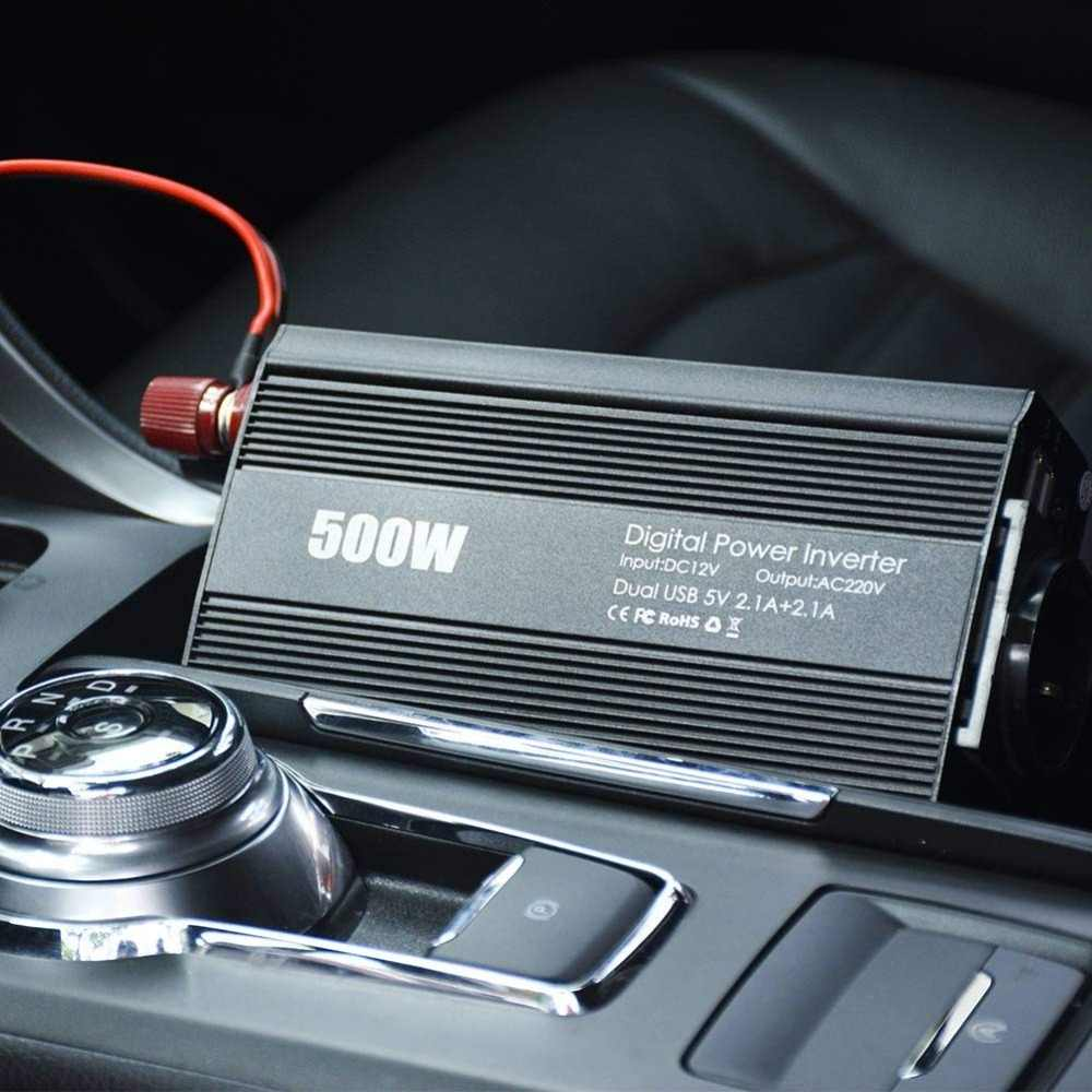 Inversor de corriente de 500W cc 12V a 110 V/220 V inversor de CA para coche con adaptador de coche Dual USB 4.2A transformador de voltaje convertidor de potencia silencio