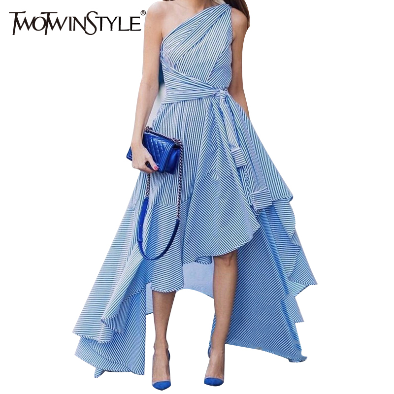 TWOTWINSTYLE 2017 Off Shoulder Summer Bandage Dress female Floor Long Striped Dresses for Women Sleeveless