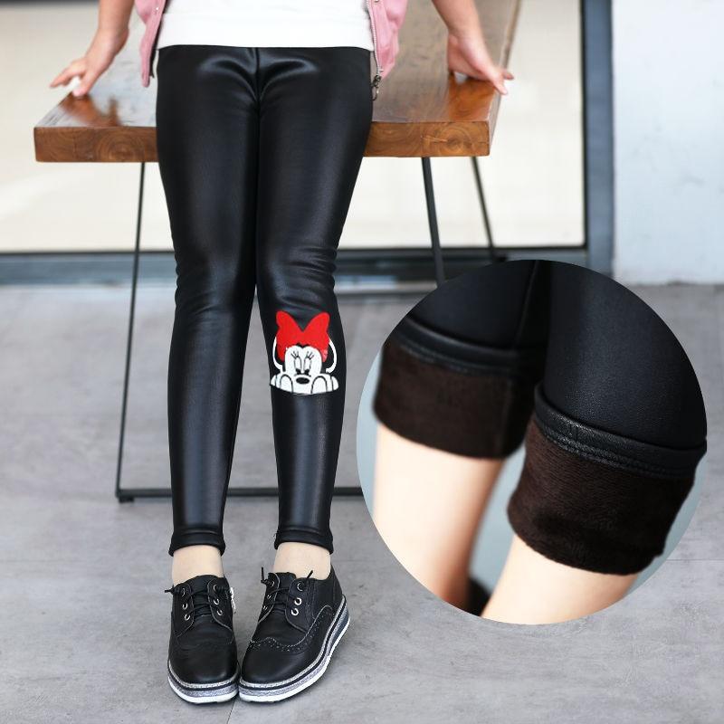 2019 Dijual Hot Gadis Pu Kulit Celana Legging Untuk Anak Perempuan Tebal Beludru Elastis Pinggang Kurus Legging Kartun Anak Kulit Hitam Celana Celana Aliexpress