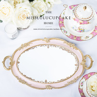European Golden Round Rectangle Tea Tray Cup Tray Dessert cake stands mirror tray