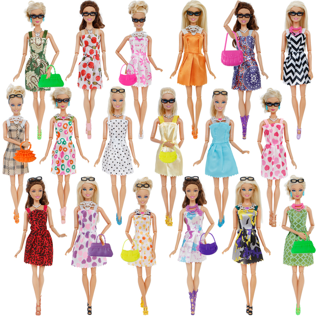 32 Item/Set Doll Accessories=10 Mix Fashion Cute Dress+ 4 Glasses+ 6 Necklaces+2 Handbag+ 10 Shoes For Barbie Doll 2