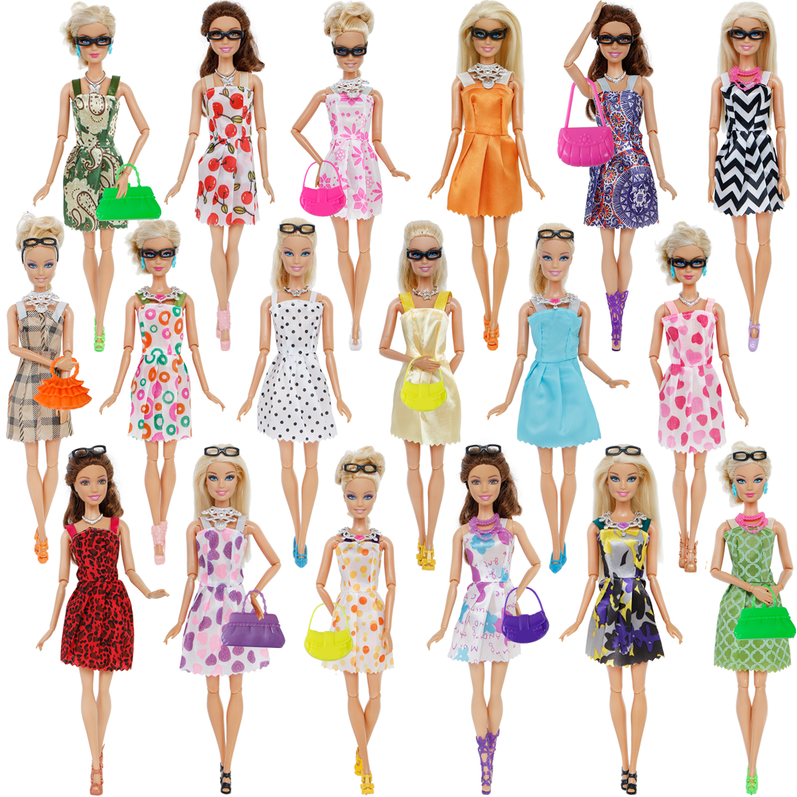 Set Doll Accessories Clothes 32 Shoes And Dress Item Barbie Glasses Fashion
