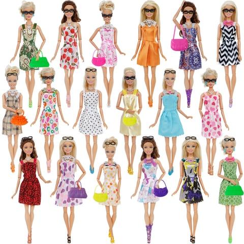 32 Item/Set Doll Accessories=10 Mix Fashion Cute Dress+ 4 Glasses+ 6 Necklaces+2 Handbag+ 10 Shoes Dress Clothes For Barbie Doll Karachi