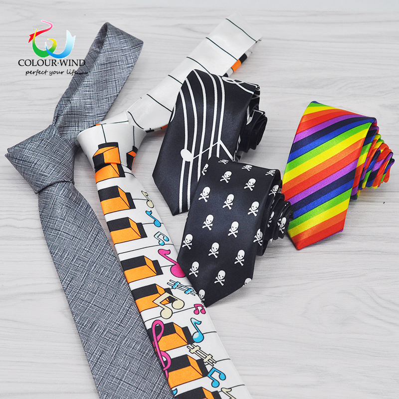 Casual Men's Polyester Tie 5 CM Width Skull Narrow Necktie For Boy Leisure Musical Piano Rainbow Striped Plaid Gravata Male Ties