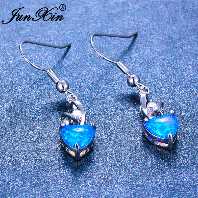 JUNXIN Cute Blue Fire Opal Heart Drop Earrings For Women White Gold Rainbow Birthstone Zircon Dangle Earrings Wedding Jewelry