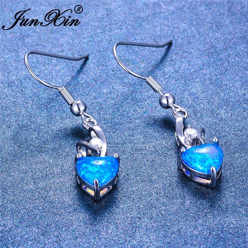 JUNXIN Cute Blue Fire Opal Heart Drop Earrings For Women White Gold Rainbow Birthstone Zircon Dangle Earrings Wedding Jewelry