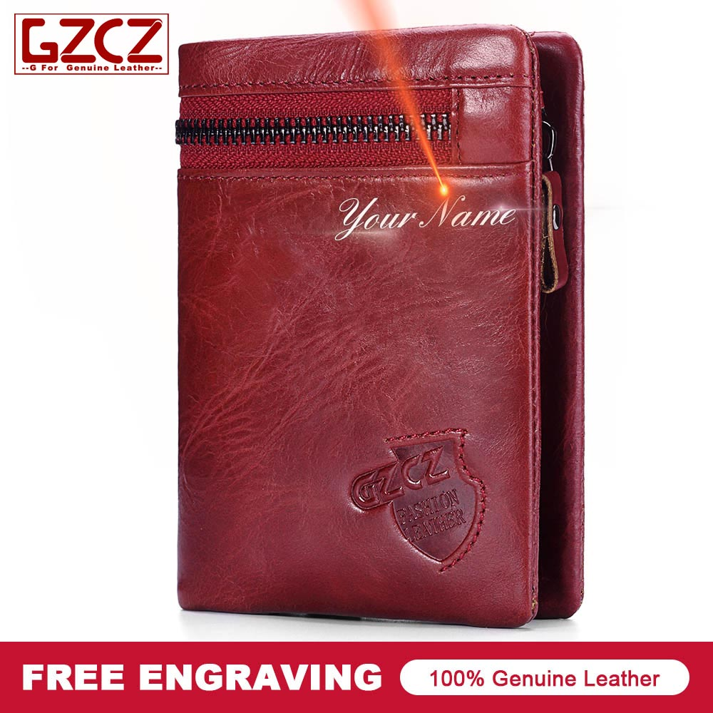 06f4e6c560b11 GZCZ 2018 New Women Wallet Purse Female Original Leather Custom Made Name  Wallets Money Clutch Bags