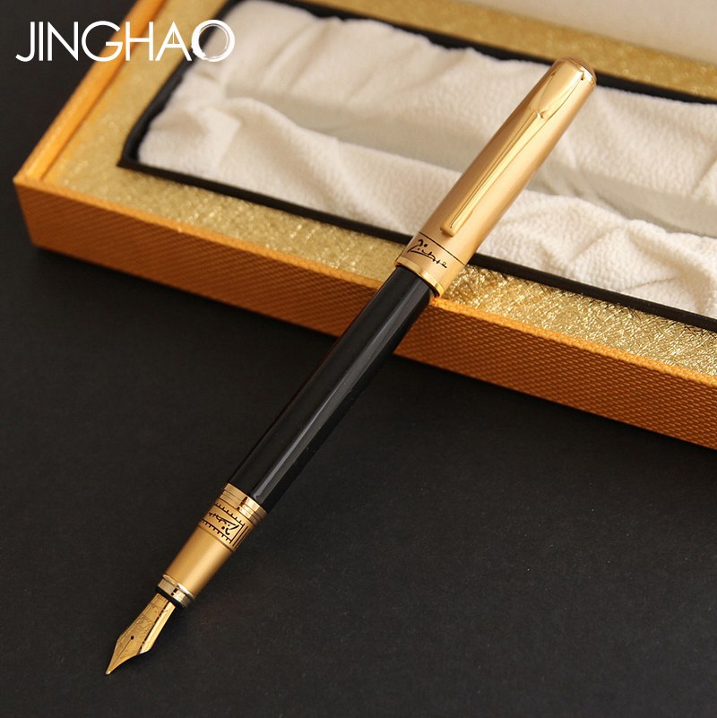 Pimio 906 Luxury Gold or Silver Black Iraurita Fountain Pen for Gift Metal 0.5mm Ink Pens with a High-end Original Gift Box 1pc luxury silver clip black or blue fountain pen high end pimio 912 iraurita ink gift writing pens with an original gift box