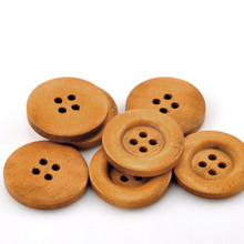 500Pcs Round Wood Sewing Buttons 4 Holes 23mm(7/8) Light Coffee Wooden Ornaments Scrapbook Making