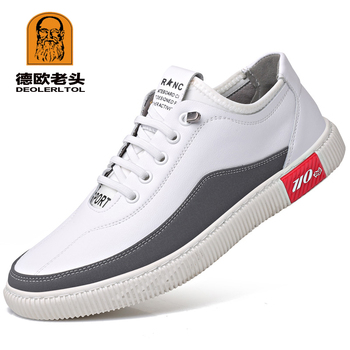 2019 Men's Cow Leather Shoes Fashion Casual Leather Anti slip White Lacing Shoes New Autumn Youth Man Split Leather Shoes