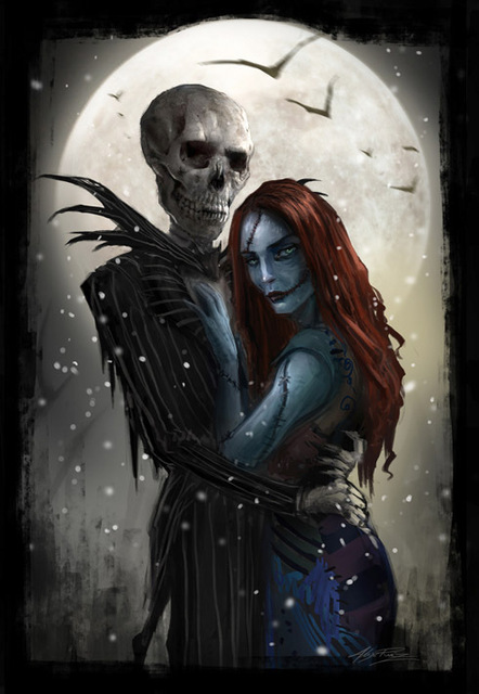 Jack And Sally Meant To Be Nightmare Before Christmas Art Paint Silk