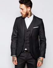 New Design Two Button Charcoal Groom Tuxedos Groomsmen Men's Wedding Prom Suits Bridegroom (Jacket+Pants+Vest+Tie) K:904
