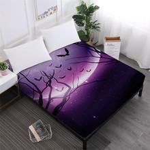 Night Scenery Bed Sheet Halloween Nightmare Fitted Sheets Church Print Mattress Cover Elastic Band Home Decor D25
