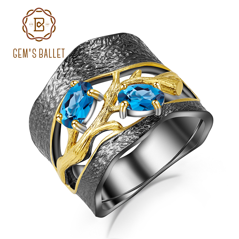 GEM S BALLET 925 Sterling Silver Original Handmade Petal Floral Rings Natural London Blue Topaz Gemstones