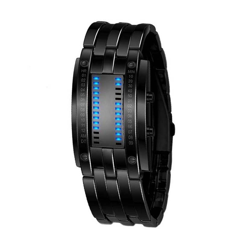 Technology Binary Watch Stainless Steel Date Digital LED Bracelet Sport Watches Montre Femme