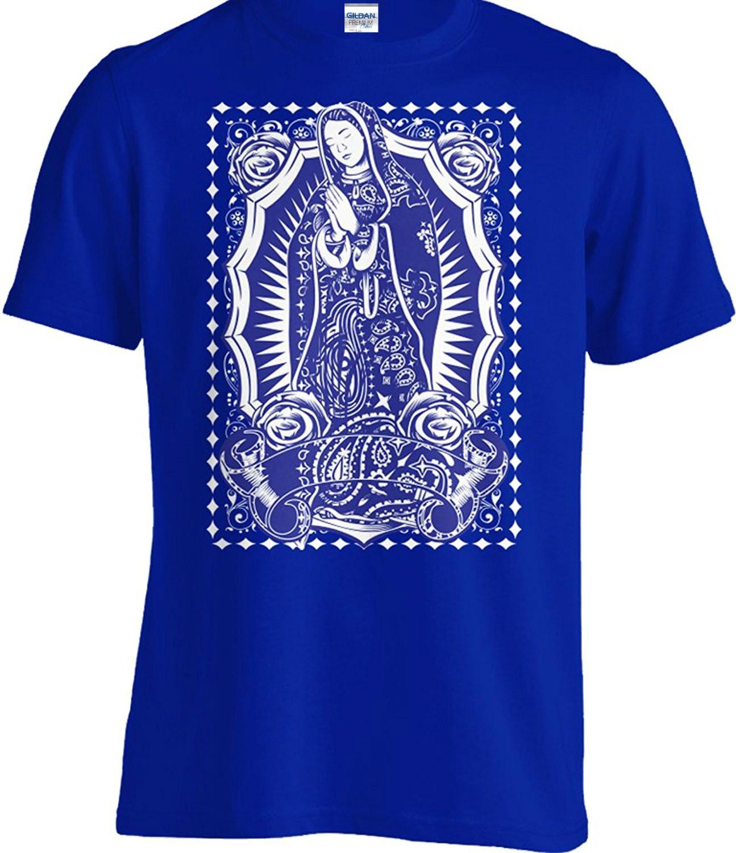 Tshirt Short Sleeve Tops Virgin Mary Blue Bandana Tee T Shirt Our Lady Virgen Guadalupe Mexican Art Urban