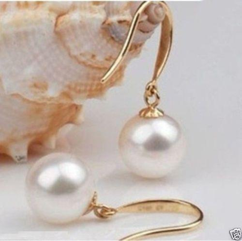 free shipping 10-11MM PERFECT ROND SOUTH SEA WHITE PEARL EARRING 14k/20 SOLID petzl demi rond