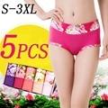 5 unids/lote nuevas mujeres floral underwear bragas cortocircuitos de las mujeres breifs ropa interior sexy underwear bragas femeninas de algodón para las mujeres s-3xl