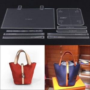 Большая емкость ковша упаковка акриловая Прочная Версия сделай сам ручная работа кожаная сумка дизайн женская форма 23x27x20cm