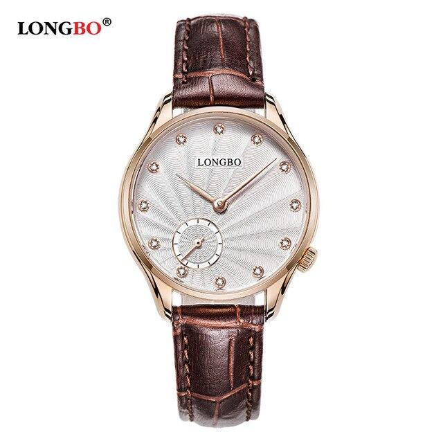 06a94cecd6e LONGBO Brand Fashion Watch Women Leather Strap Rhinestone Ladies Watch  Casual Quartz Watch Men Relogio Feminino