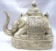 Crafts Arts NICE CHINESE OLD Collector Chinese Tibet silver elephant shape figure teapot Garden Decoration Brass BRASS