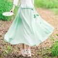 Elegante Estilo Chino Retro de Moda Primavera Verano 2017 Nuevas Mujeres de la Alta Calidad de Seda de Impresión Swing Grande Cintura Elástica Faldas Largas