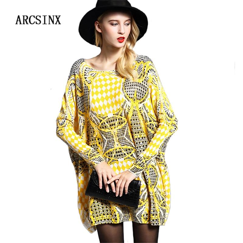 ARCSINX Oversized Female Pullover 5XL 6XL 7XL 8XL 9XL Autumn Winter Print Geometric Women Jupmers Large Size Women Long Sweater