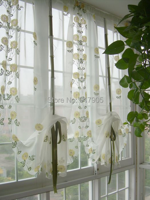 elegant sunflowers embroidery pull up curtain modern white adjustable voile curatin european country style curtains for