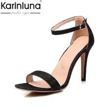 KARINLUNA Pequeño Tamaño Grande 30-45 Estrenar Correa de Tobillo Zapatos de Las Mujeres Atractivas Delgadas de los Altos Talones Del Banquete de Boda Sandalias señora Calzado