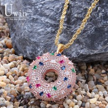 UWIN Doughnut Pendant Sweet Pink Rainbow Czcolorful Full Iced Out Cubic Zirconia Hiphop Jewelry For Gift
