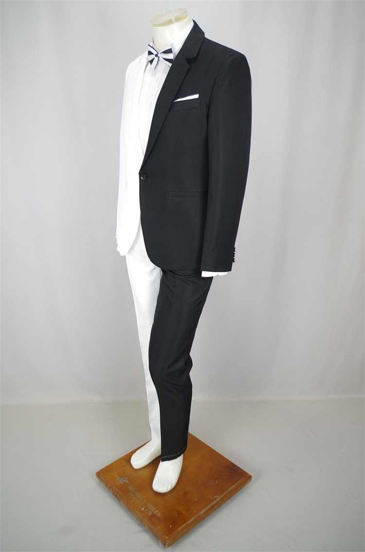 新デザインブラックホワイト男性のスーツナイトクラブマジシャンピエロのパフォーマンス衣装歌手ホストステージ衣装 2 枚セット