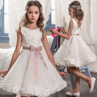 Cute Cute white flower girl dresses with sash lovely kids wedding birthday party ball gowns size 2 16y