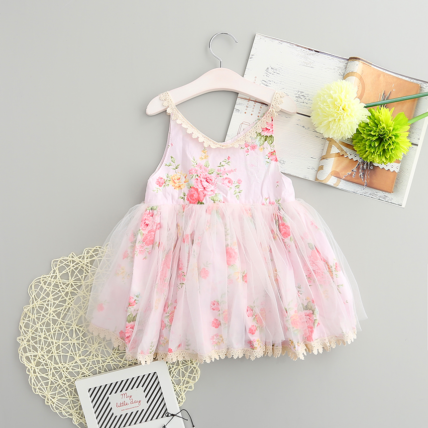 2016 Girls Dress Korean Princess Sweet Floral Lace Fancy Dresses for Baby Girl Children Frocks Designs