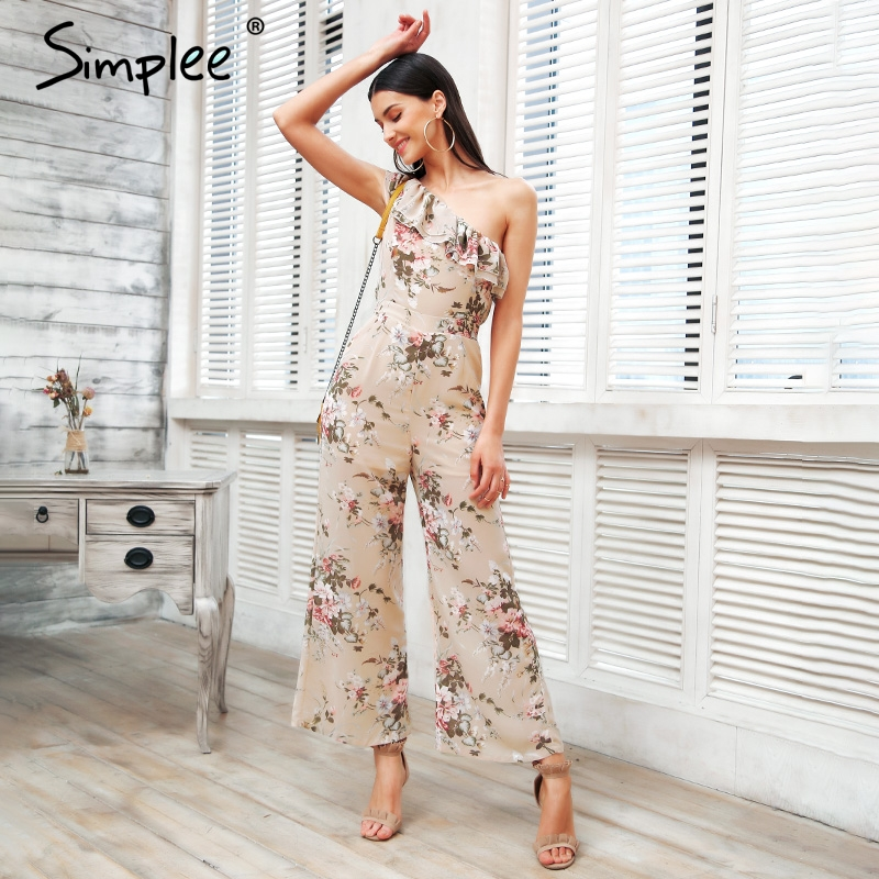 Simplee One shoulder print sexy   jumpsuit   Boho tiered ruffle rompers women   jumpsuit   2018 Elegant chiffon summer   jumpsuit