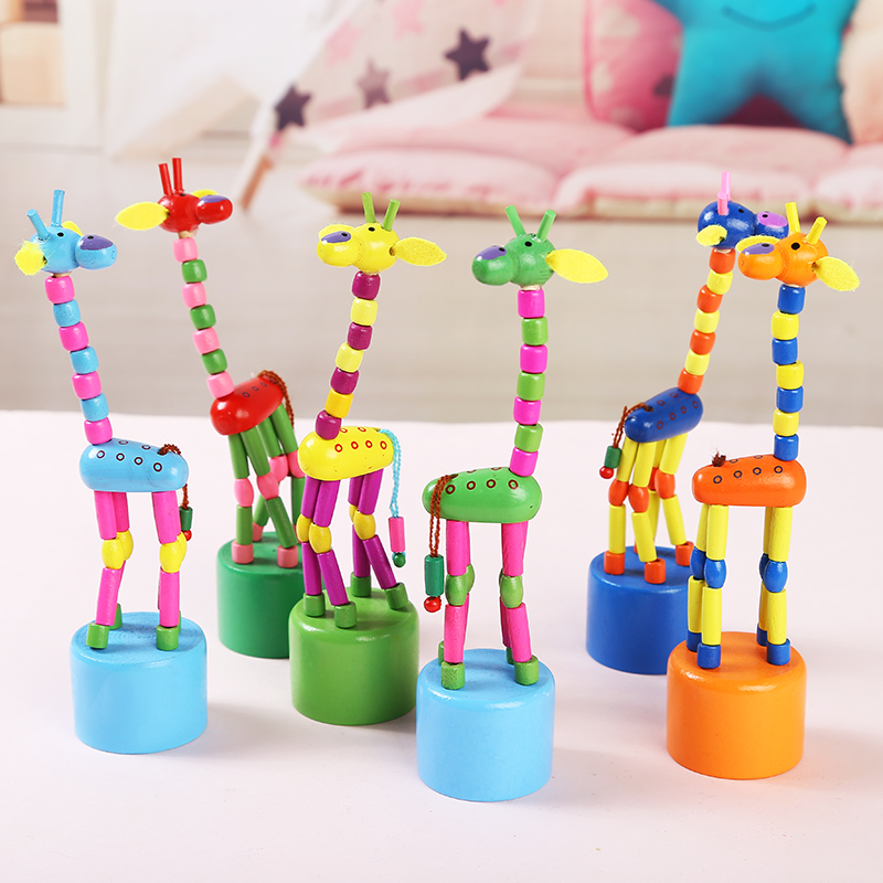 Wooden Giraffe Children's Toys Cartoon Rocking Wooden Toys Development Dancing Wooden Spring Toys Baby Wood Educational Toy DS19