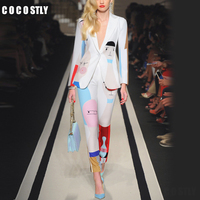 Women Suits office sets Long Sleeve Cartoon Geometric Print One Button Turn down Collar Blazer + Pencil pant suits for women