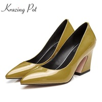 Krazing Pot 2018 Streetwear Cow Leather Square High Heels Pointed Toe Shallow Candy Colors Office Lady